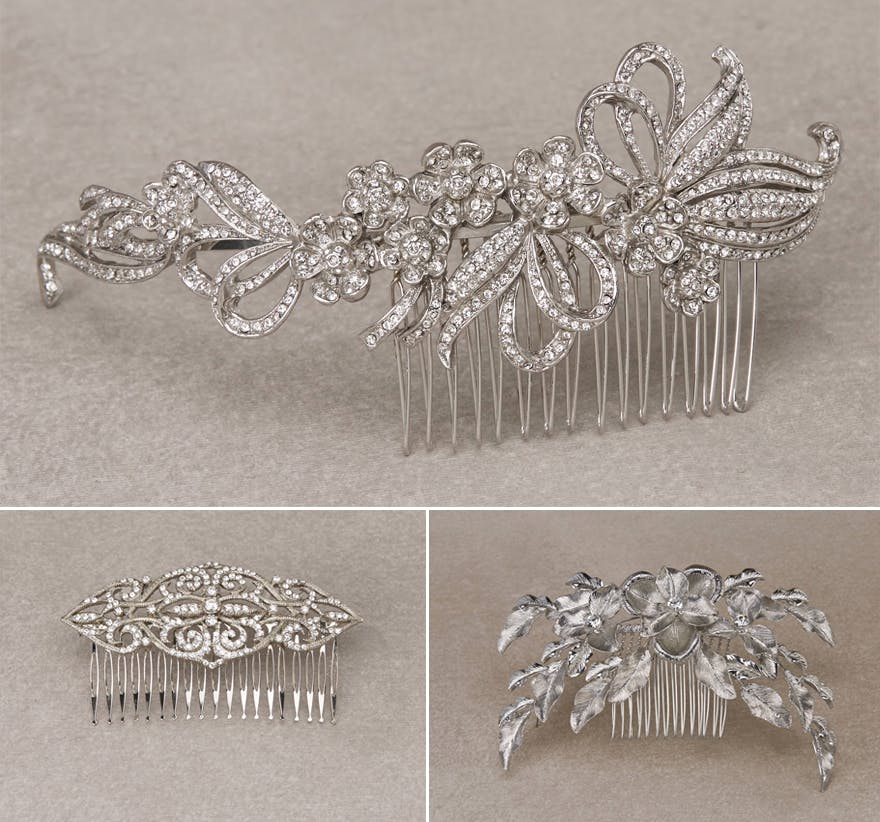 Silver Wedding Combs by Pronovias - PEDRERA PEINETA - MONUMENTAL PEINETA - and LIS PEINETA from the Pronovias Headpiece Collection | Confetti.co.uk