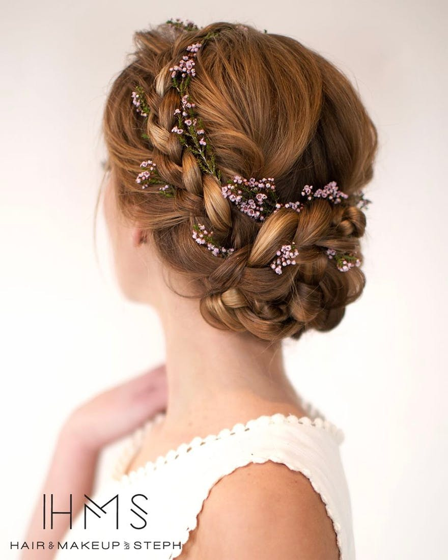 Small Flowers in Braids Wedding Hair Ideas by Hair and Makeup by Steph | Confetti.co.uk