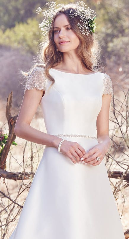 Talin A line Wedding Dress with Cap Sleeves from the Cordelia Collection by Maggie Sottero Designs | Confetti.co.uk