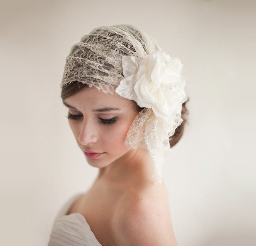 Vintage Style Lace Bridal Cap - A Vintage Romance - 2013 Collection by Melinda Rose - Atlas & Elia Photography | Confetti.co.uk