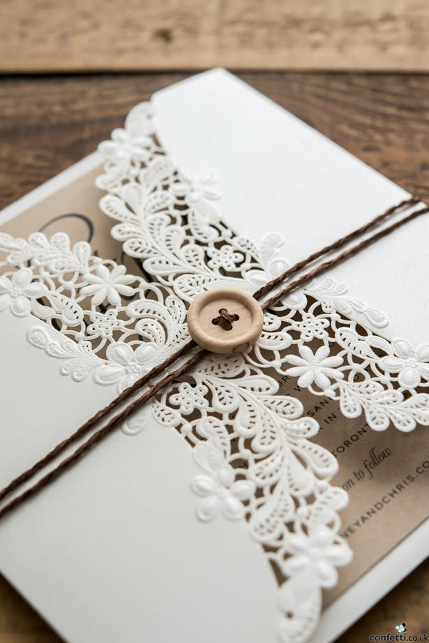 Invitations with wooden buttons | Confetti.co.uk