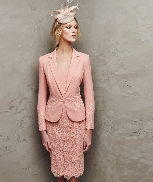 Mother of the Bride in the Pronovias Peach Lasora Dress and Jacket Combo