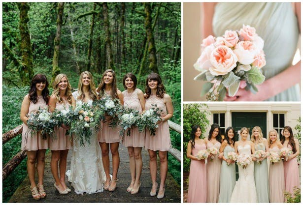 Pink bridesmaids with green | Confetti.co.uk
