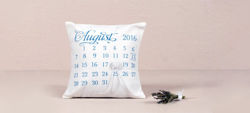 """""""Notable"""" Personalised Ring Cushion with Wedding Date Design 