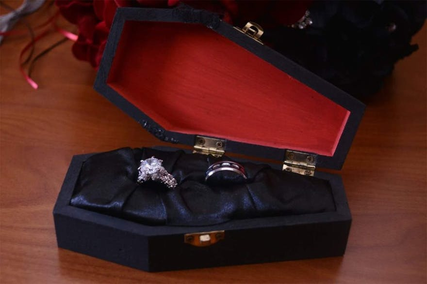 Coffin Ring Box Carla and Henry's Vintage Gothic Wedding by Iris Mendoza from Beyond Artistic Wedding Photography | Confetti.co.uk