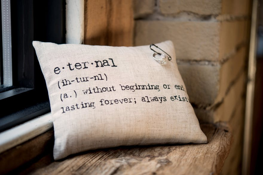 Personalised Eternal Definition Natural Linen Ring Cushion With Vintage Type | Confetti.co.uk