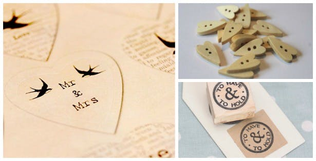 DIY wedding craft vintage stickers, buttons and stamp | Confetti.co.uk