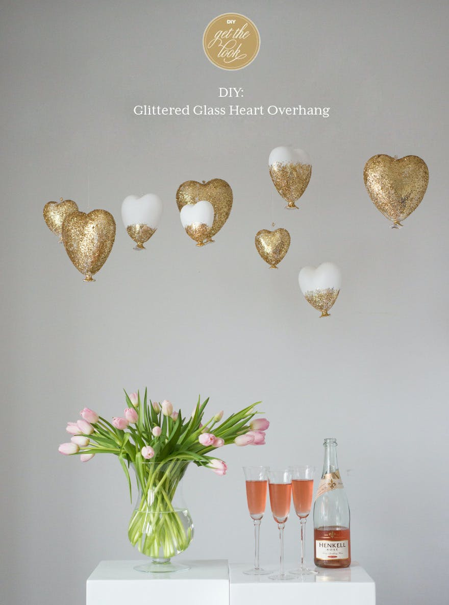 DIY Glittered Glass Heart Wedding Decor | Confetti.co.uk