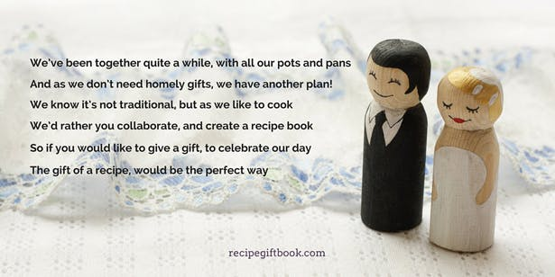 """We've been together quite a while"" Recipe Gift Book Poem 