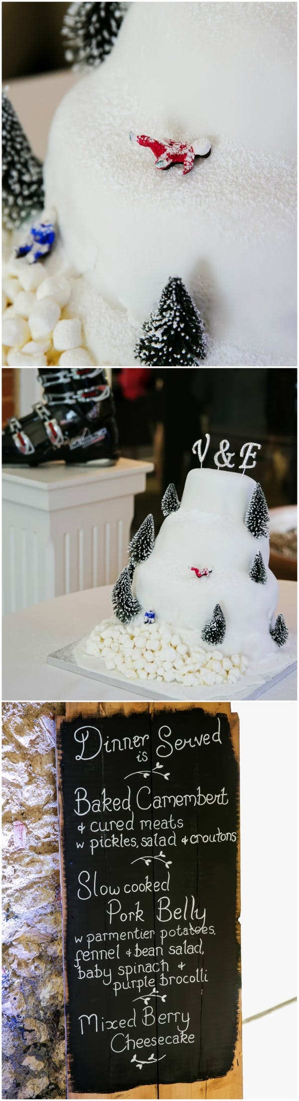 Ski And Winter Inspired Wedding Cake And Chalk Board Food Menu | Conffeti.co.uk