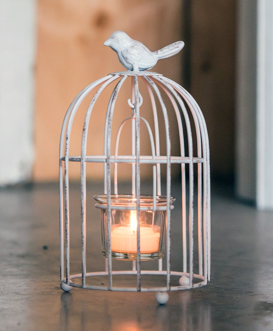 Metal Birdcage with Suspended Tealight Holder Wedding Decor and Centrepiece | Confetti.co.uk