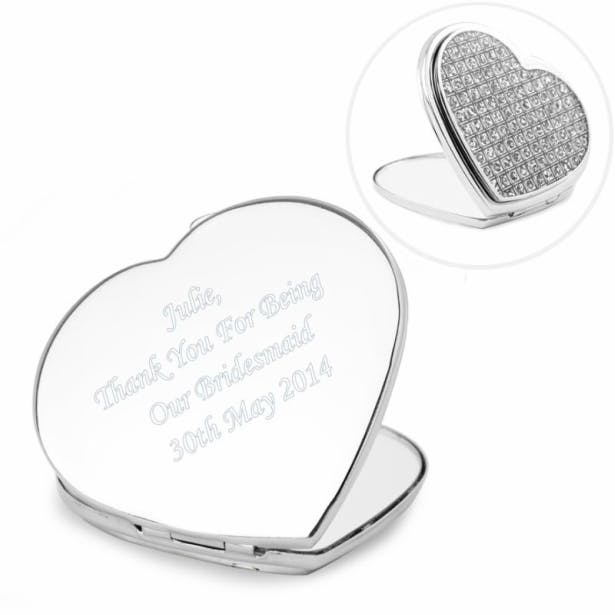 A stunning heart shaped silver plated compact mirror,covered on one side in pretty diamante glitter by Confetti.co.uk