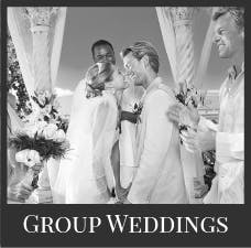 Sandals group weddings black and white