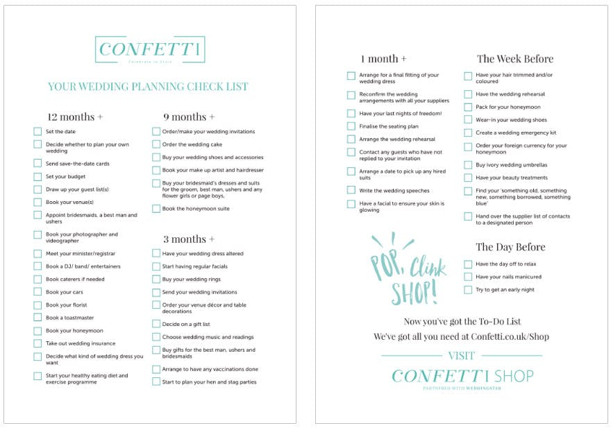 Wedding Planning Checklist | Confetti.co.uk