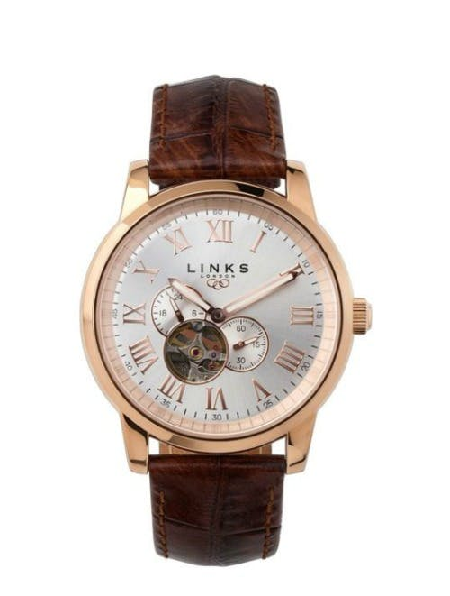 Noble mens rose gold brown leather watch by Links of London | Confetti.co.uk