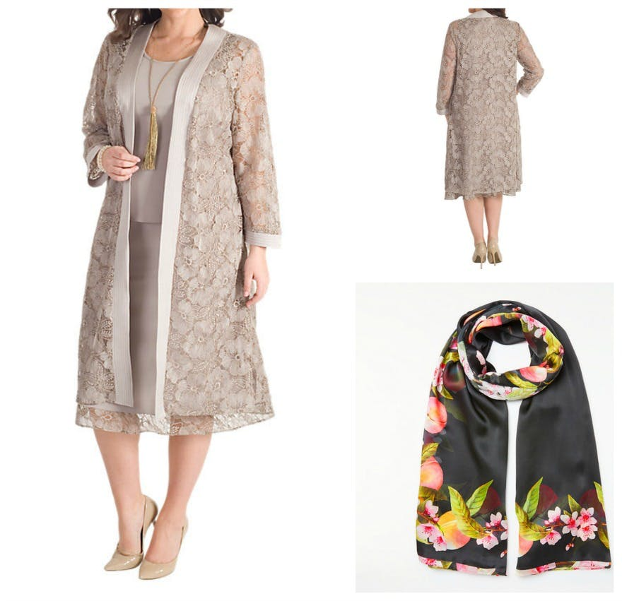 Embroidered lace coat in mink and Ted Baker peach blossom silk scarf at John Lewis | Confetti.co.uk