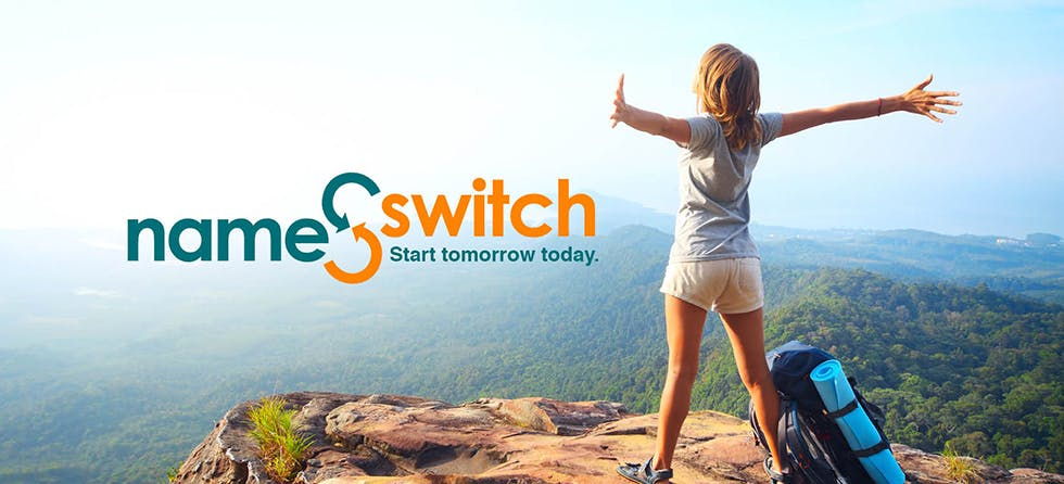 Girl standing on a mountain top Name Switch