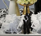 White Wedding Dress And Tuxedo Organza Favour Bags