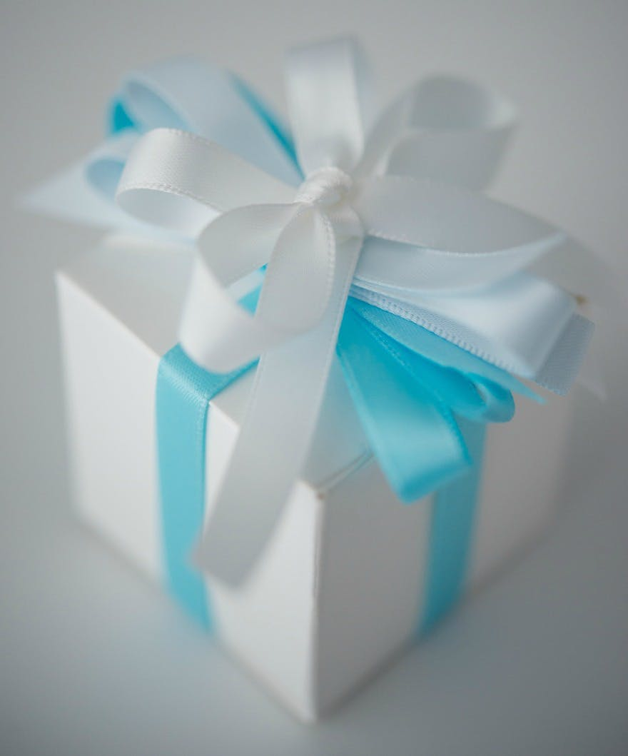 Favour Box With Blue And White Ribbons