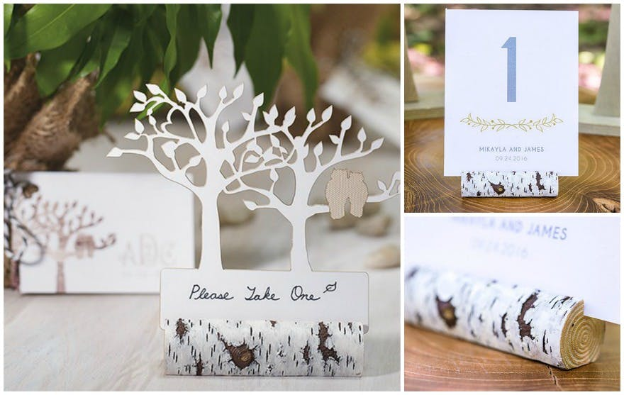 Faux birch log card holders | Confetti.co.uk
