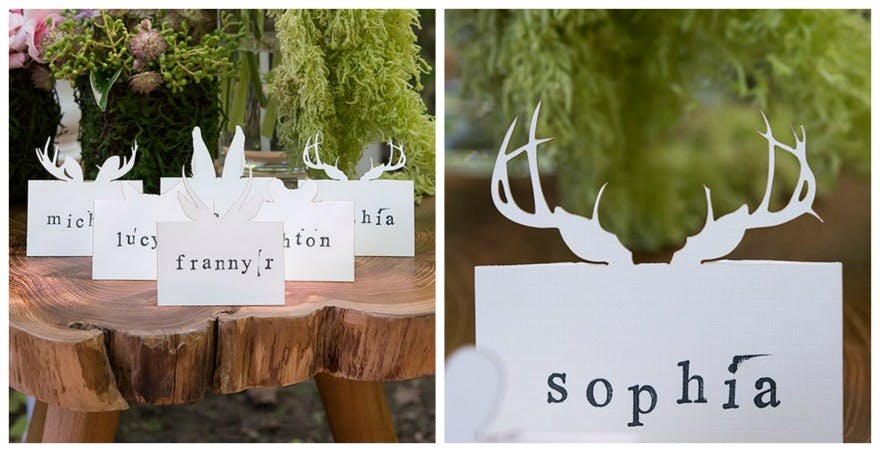 Woodland deer antlers folded place card | Confetti.co.uk