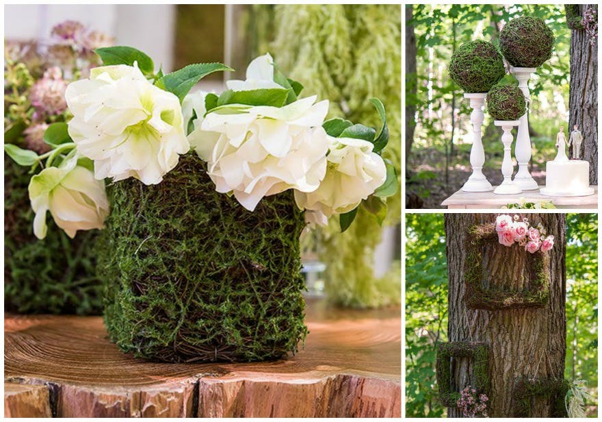 Woodland wedding ideas faux moss and wicker mini planters | Confetti.co.uk