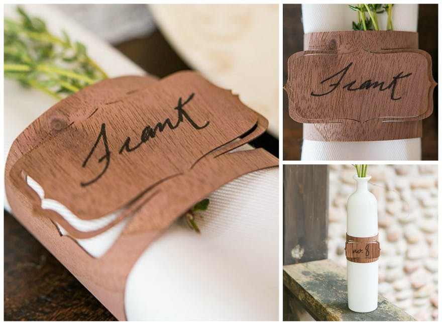 Wood veneer bracked place card napkin ring | Confetti.co.uk