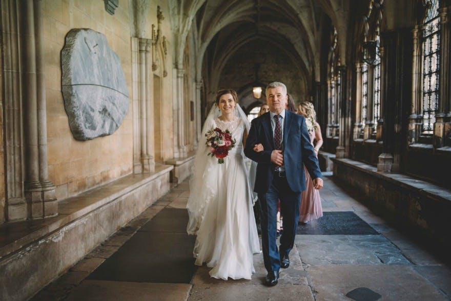 Bride and father Kristina and Max's Real Wedding at Westminter Abbey   Confetti.co.uk