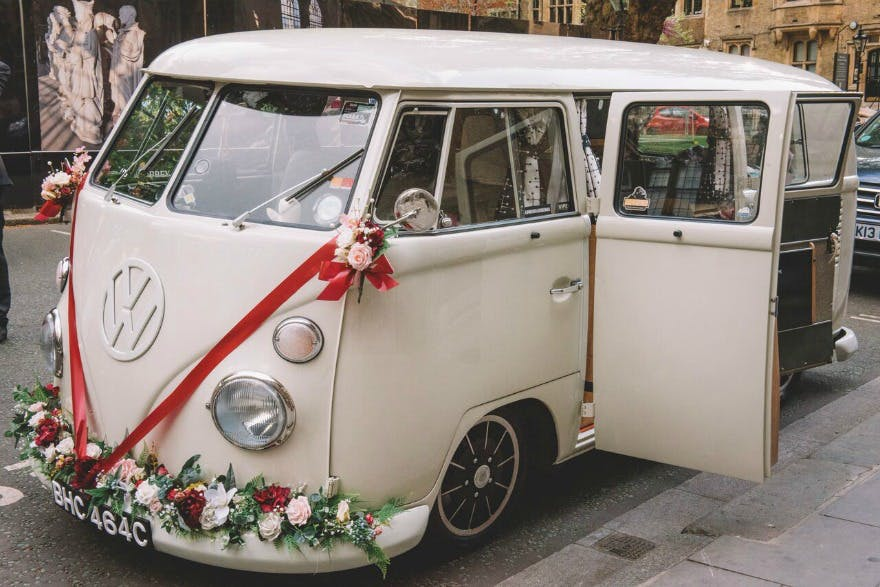 VW camper van at Kristina and Max's Real Wedding at Westminter Abbey   Confetti.co.uk