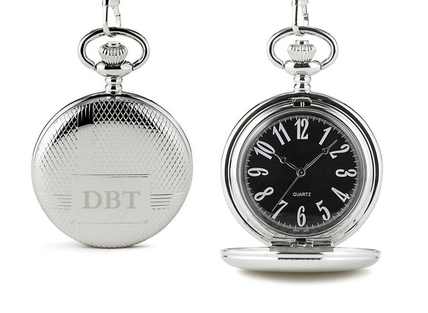 Classic pocket watch with black face | Confetti.co.uk