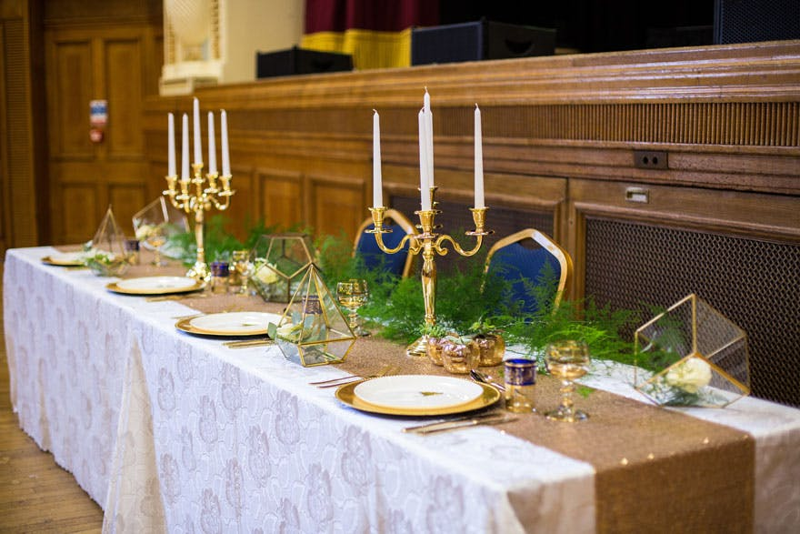 Islington Assembly Hall Rustic Winter White and Gold Wedding Table | Confetti.co.uk