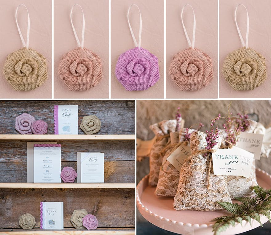 Burlap Wreath Extras Flowers and Bags - More rustic burlap DIY wedding decoration ideas with flowers and bags   Confetti.co.uk