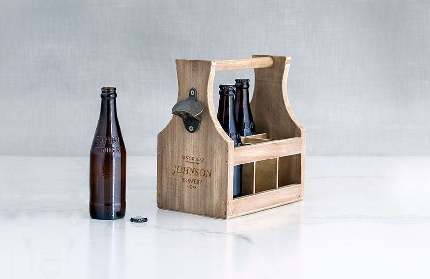 Wooden beer caddy with opener | Confetti.co.uk