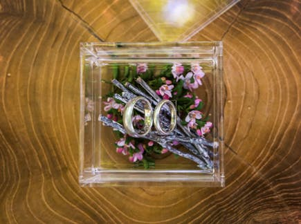 Acrylic Wedding Ring Box - Woodland Pretty Etching Plants Flowers and Twigs Filling | Confetti.co.uk