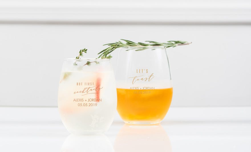 Personalised Stemless Wine Glass | Confetti.co.uk