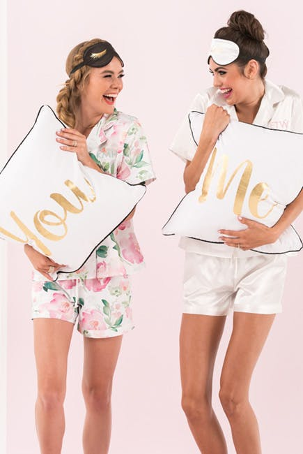 Pink Watercolour Floral and White Silky Pajama Shorts Sets with You and Me Pillows and Sleep Masks | Confetti.co.uk