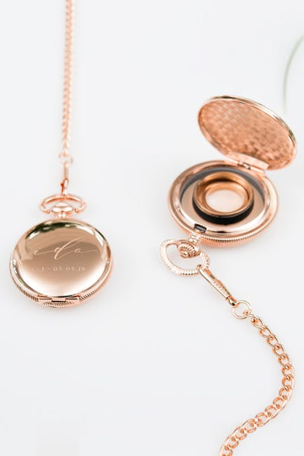 Rose Gold Personalised Pocket Watch Ring Holder | Confetti.co.uk