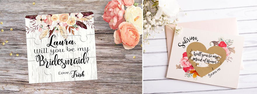 Will You Be My Bridesmaid Bag Scratch Card and Jigsaw Puzzle | Confetti.co.uk