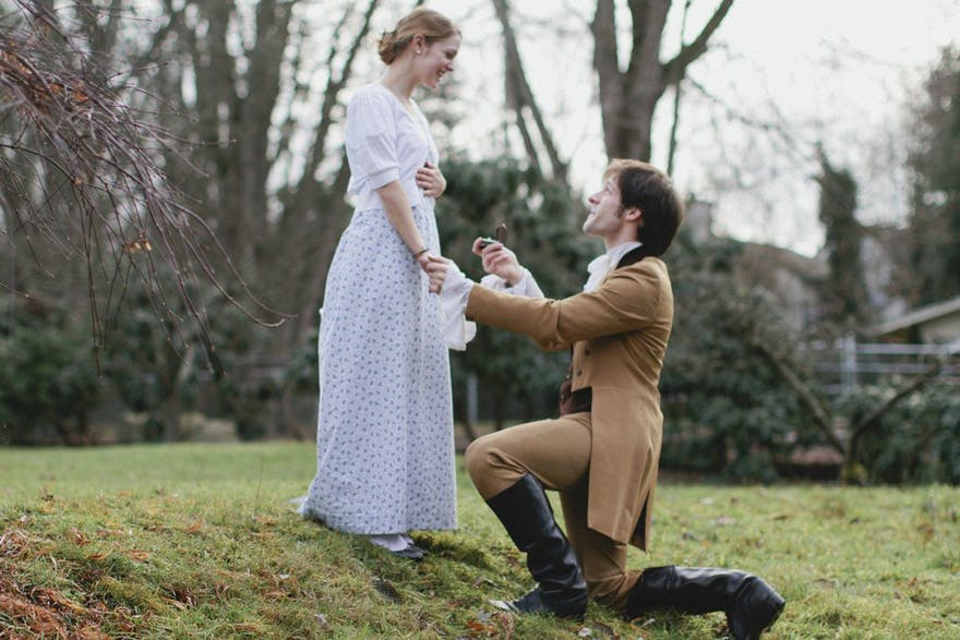 Adorable Pride And Prejudice Themed Engagement | Confetti.co.uk