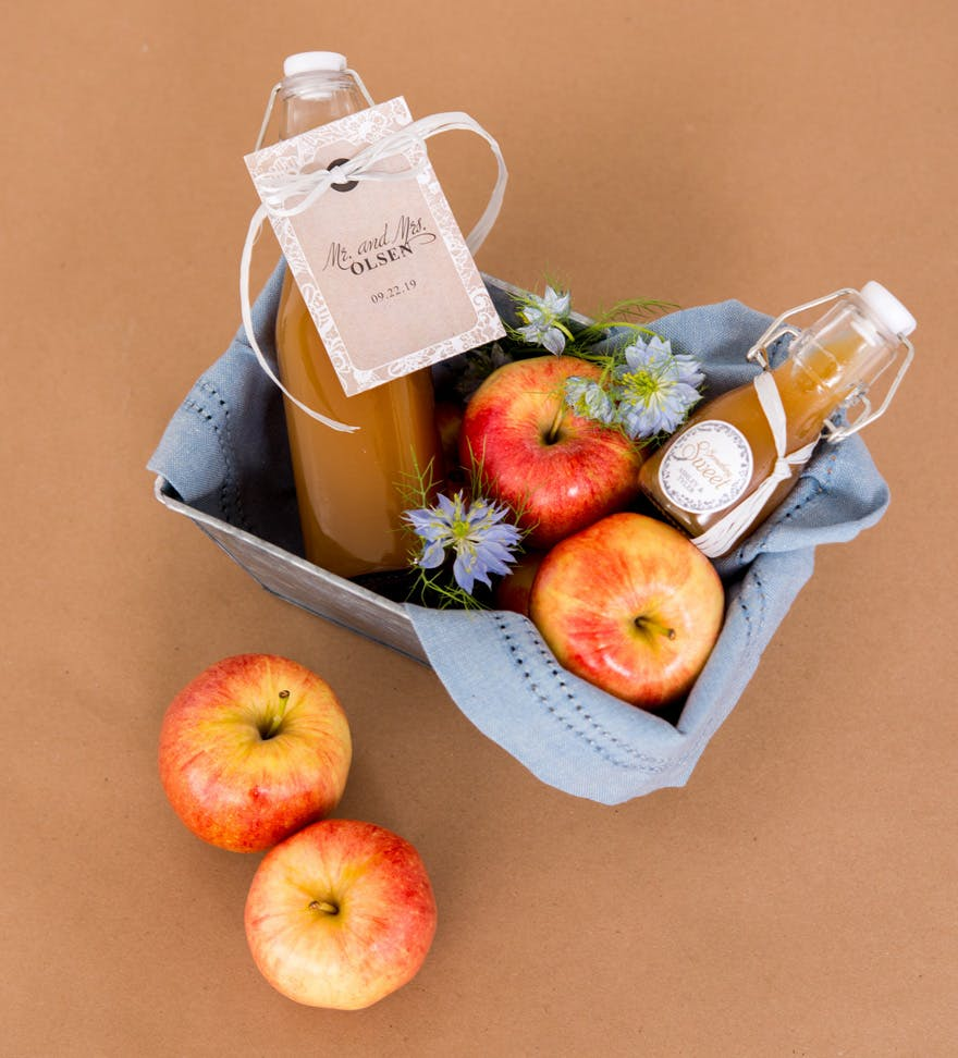 Autumn Red Orange Apple Harvest with Cider Drinks Gift Hamper | Confetti.co.uk