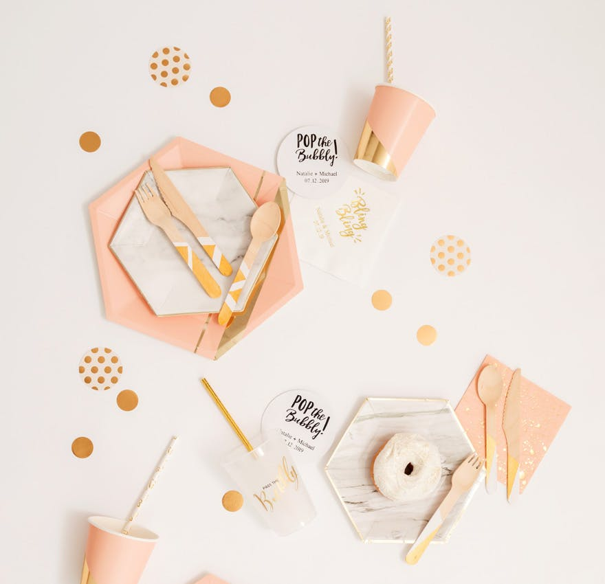 Blush Pink and Gold Party Food Essentials and Decorations with Marble Effect | Confetti.co.uk