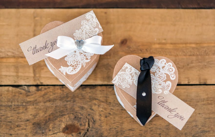 Bride and Groom Favour Boxes Heart Kraft Paper Favour Box With Vintage Lace Print | Confetti.co.uk