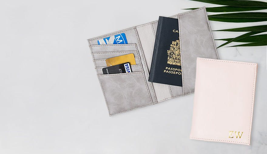 Faux Leather Passport Cover - Grey and Pink | Confetti.co.uk