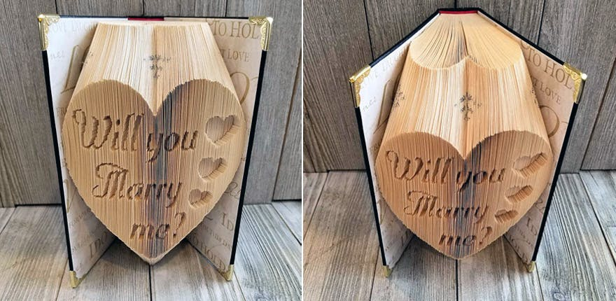 Folded Book Art Will You Marry Me by CedarwoodLane on Etsy | Confetti.co.uk