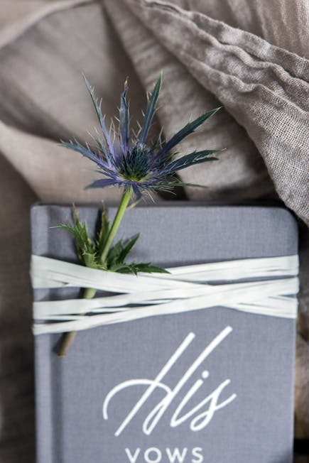 Grey Vow Book - Personalised His Vows with Silver Writing and Sea Holly Thistle Flower | Confetti.co.uk
