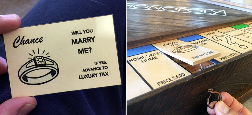 Guy Proposes Using Custom Made Monopoly Board With Secret Compartment | Confetti.co.uk