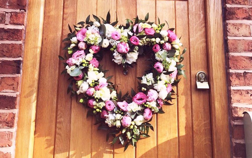 Hanging Flower Heart Decoration and Door Wreath by The Florist at Coppice | Confetti.co.uk