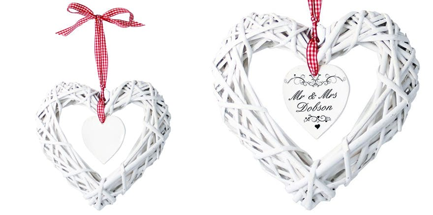 Ornate Silver Swirl Personalised White Wicker Heart Decoration | Confetti.co.uk