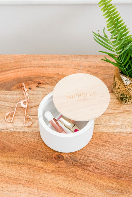 Personalised Round White Wooden Keepsake Box Women's Accessories Organiser Box with Lid | Confetti.co.uk