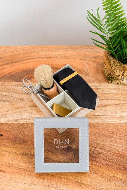 Personalised Square Wood and Faux Leather Keepsake Box Men's Accessories Organiser Box with Tie and Money Clips Featuring a Mercury Glass Hurricane Vase | Confetti.co.uk